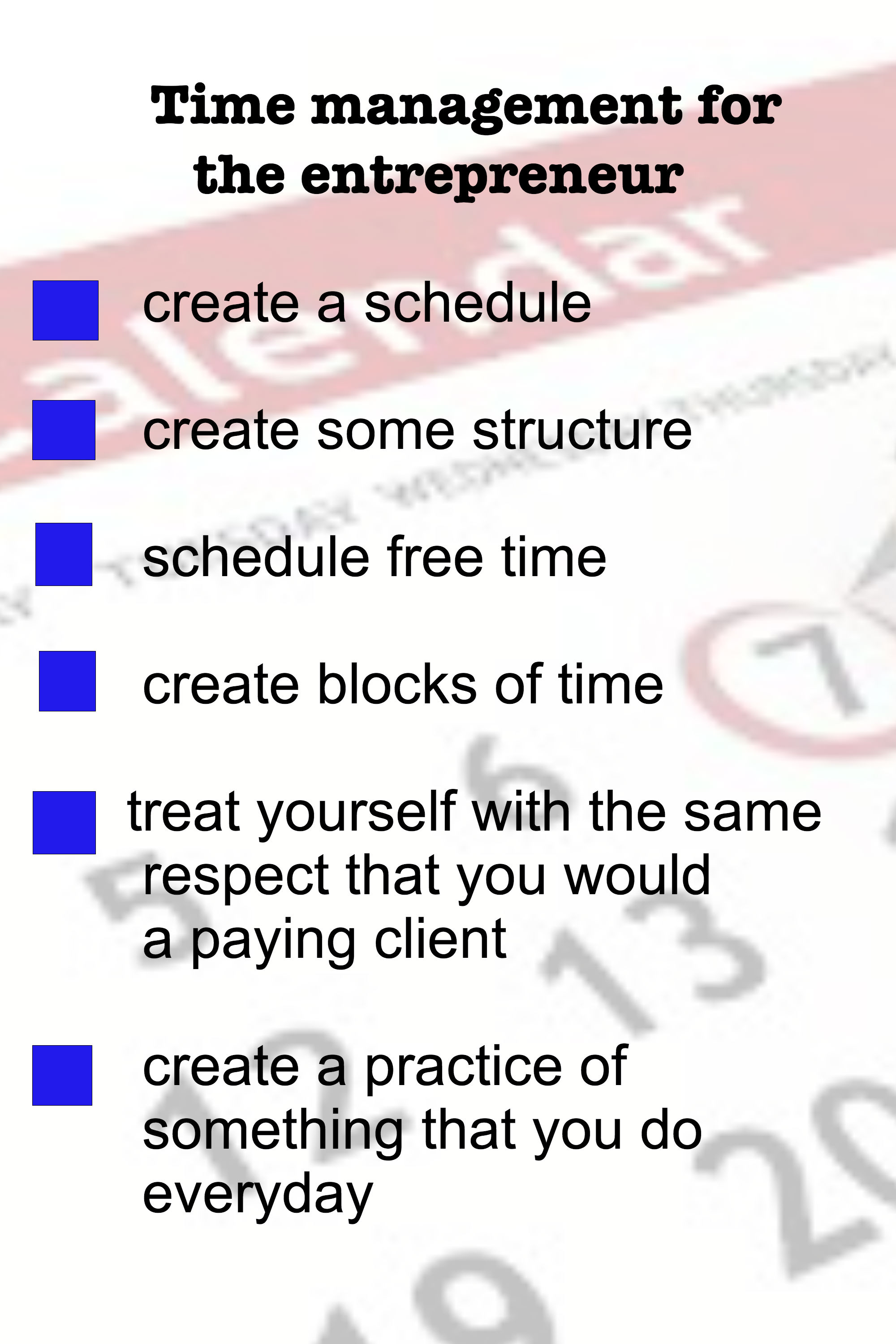time management for the small business owner and creative thinker
