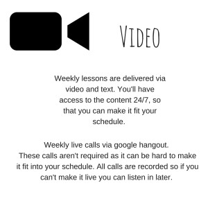 Weekly lessons are delivered via video and text. You'll have access to the content 24%2F7, so that you can make it fit your schedule. (2)